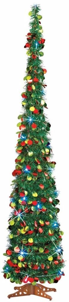 Whimsical Slim Pull Up Christmas Tree Sparkling 35 White Lights 5 Feet Tall