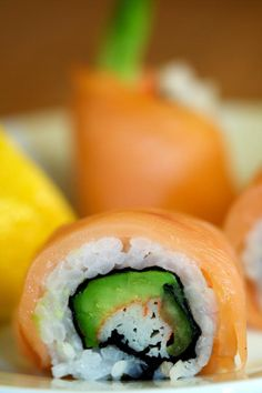 Lemon Drop Roll - Crab, Avocado, Cucumber, Smoked Salmon, and Lemon Juice