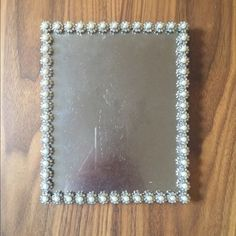 Jay Strongwater 5 x 7 Frame Silver-tone Jay Strongwater rectangular picture frame with white glass pearls and iridescent crystal elements. Excellent condition. Jay Strongwater Other