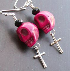 These funky earrings are inches long and topped with black faceted glass crystals. Funky Earrings, Cross Earrings, Goth Music, Pink Sugar, Rocker Style, Halloween Jewelry, Punk Goth, Sugar Skulls, Faceted Glass