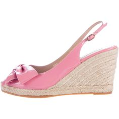 Pre-owned Valentino Espadrille Bow Wedges ($195) ❤ liked on Polyvore featuring shoes, sandals, pink, patent leather sandals, valentino shoes, espadrille sandals, pink espadrilles and valentino sandals