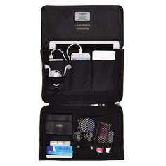 Elektronista Black Digital Clutch Bag from KNOMO: Official Store | Women's Shoulder Bag | Full Grain leather | Ladies Handbags | Designed by KNOMO London