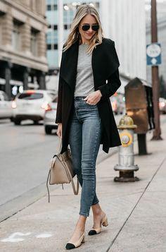 Just Pinned to Pin Board: Blonde Woman Wearing Black Wrap Coat Grey Sweater Denim Skinny Jeans Chanel Slingbacks Celine MIni Belt Bag Fashi. Fashion Blogger Style, Fashion Mode, Look Fashion, Street Fashion, Trendy Fashion, Autumn Fashion, Fashion Ideas, Ladies Fashion, Trendy Style