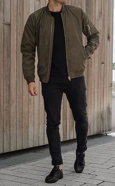 size 40 378c8 a397c Wonderful Winter Outfit Ideas13 Bomber Jacket Outfit, Green Jacket Outfit,  Men's Outfits, School