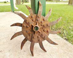 Antique Vintage Metal Rotary Hoe Wheel Farm Barn Rustic Steampunk Garden Art!