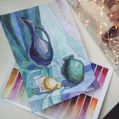 Watercolor Paintings For Beginners, Acrylic Painting Techniques, Beginner Painting, Watercolor Art, Drawing Now, Object Drawing, Painting & Drawing, Architecture Drawing Art, Cubist Art