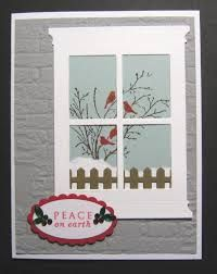 card christmas window SU Serene Silhouettes, Grand Madison Window, MFT Fence Die, SU Oval Punches, Sizzix Brick E F Christmas Cards To Make, Xmas Cards, Holiday Cards, Serene Silhouettes, Memory Box Cards, Winter Karten, Window Cards, Hearth And Home, Stamping Up Cards