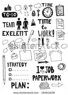 Office work doodles. Hand drawn vector illustration