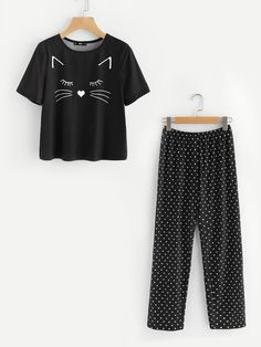 Shop Cartoon Print Top And Polka Dot Pants Pajama Set online. SheIn offers Cartoon Print Top And Polka Dot Pants Pajama Set & more to fit your fashionable needs. - Pajama Tops - Ideas of Pajama Tops Cozy Pajamas, Girls Pajamas, Pajamas Women, Pyjamas, Satin Pyjama Set, Pajama Set, Pajama Pants, Cute Sleepwear, Cute Pjs