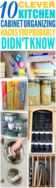 These 10 Clever Kitchen Cabinet Organization Hacks are THE BEST! I'm so happy I found these GREAT tips! Now I have some great ways to keep my cabinets and kitchen clutter free, clean, and organized! Definitely pinning!