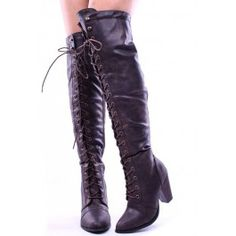These boots feature a lace up design all the way to the top above the knee, faux leather, measures at 23 inches from top to bottom of heel and approx. 14 inch circumference at top.