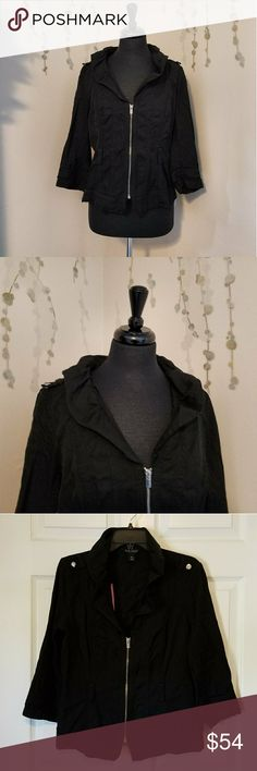 WHITE HOUSE BLACK MARKET Light Jacket A light weight jacket with 3/4 length sleeves.  Zips up the front.  Has loops for a belt if you so choose to style it that way.   Black with silver hardware.   Size 12 White House Black Market Jackets & Coats