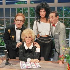 Cher with Elton John, Joan Rivers, Pee Wee Herman on The Tonight Show