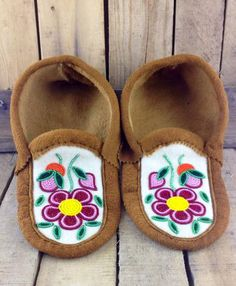 Red and Pink Beaded Flowers on Hand Tanned Moose Hide Slippers