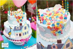 Up-inspired birthday cake! How cute. Love the little sugar balloons.