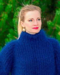 Blue hand knitted mohair sweater SUPERTANYA ribbed turtleneck fuzzy jumper SALE #SuperTanya #Handknitted