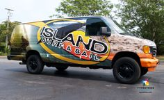 Island Surf & Sail Full Color 3M Controltac with gloss laminate vehicle wrap. — at Island Surf & Sail.