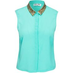 Vero Moda Azelea Shirt ($24) ❤ liked on Polyvore featuring tops, shirts, blue, blusas, blouses & shirts, green, womens-fashion, blue collared shirt, sleeveless collared shirt and short shirts
