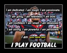 Inspirational Personalized I PLAY Football Quote Wall Art Poster, Brother Best Friend Birthday Gift for SON JJ Watt Photo Wall Decor by ArleyArt Personalized Posters, Personalized Football, Personalized Wall Art, Football Motivation, Sport Motivation, Motivation Wall, Motivational Wall Art, Wall Art Quotes, Quote Wall