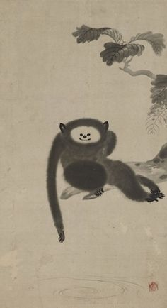 Paintings of monkeys by Kano Sansetsu Art And Illustration, Illustrations, Japanese Art Modern, Japanese Prints, Monkey Art, Year Of The Monkey, Japanese Painting, Japan Art, Ink Painting