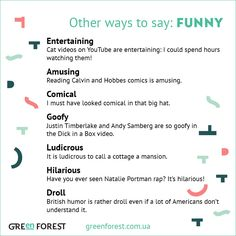 Synonyms to the word FUNNY Other ways to say FUNNY
