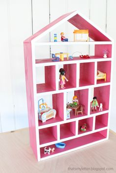diy dollhouse shelf, free plans for dollhouse shelf, dollhouse shaped shelf, small dollhouse Dollhouse Bookcase, Diy Dollhouse, Dollhouse Tutorials, Modern Dollhouse, Diy Kids Furniture, Furniture Plans, Repurposed Furniture, Ana White, Wood Projects For Kids