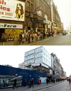Tottenham Court Road tube station on Oxford Street in 1973 and today London Now, Old London, London Life, Oxford Street, London Street, Victorian Buildings, London History, Vintage London, Historical Images