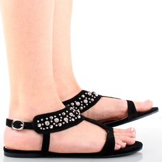 Black Suede Rhinestones Studded T Strap Open Toe Sandals Womens