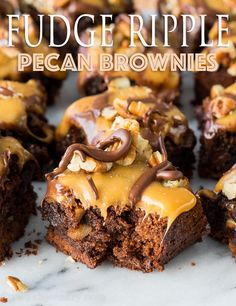 These Fudge Ripple Pecan Brownies are a snap to make. With a fudgy brownie base, that's filled with extra chocolate and toasted pecans and then topped with a silky caramel, more pecans and a drizzle of chocolate, these brownies are impossible to resist. You know what is the worst? Being a mom and getting sick. I don't think it should be allowed. Is there a way we can outlaw it? Or instill some sort of law that when a mom does happen to get sick, their kids are taken to a professional ...