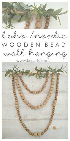 boho nordic wooden bead wall hanging kreativk.net