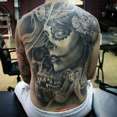 75 Mind-Blowing Skull Tattoos And Their Meaning | AuthorityTattoo Full Back Tattoos, Back Tattoos For Guys, Tattoos For Women Half Sleeve, Wild Tattoo, Tattoo Pics, Mexican Skull Tattoos, Sugar Skull Tattoos, Sugar Tattoo, Tattoos