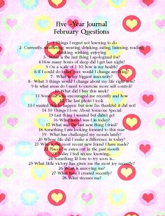 As promised, here are February's question from my DIY Five-Year Journal.  Come journal along with me! It's been a lot of fun the past month...