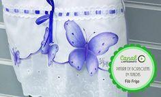 Pintura de borboletas em fraldas - Filó Frigo