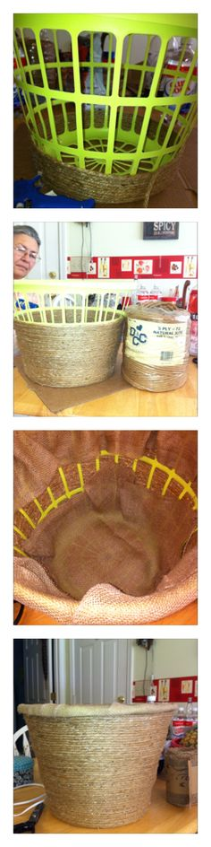Dollar tree plastic hamper, hemp or jute rope, hot glue round and round and up you go.  Finish top with burlap.  You have an expensive jute flower pot.  Mine is for my grandma and grand pa cactus.  They are huge.  Hope I get some Grand Baby Cactus.