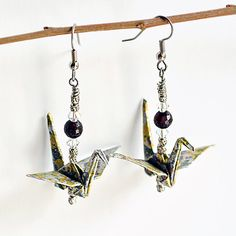 Gifts for Her, Origami Earrings, OOAK, Party Jewelry, Elegant Earrings, Made to Order, Gold & Silver, Japanese Papers,Paper Art