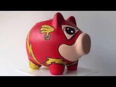 FLASH CERDITO ALCANCIA EN CERAMICA CERDY - YouTube Personalized Piggy Bank, Mickey Y Minnie, Flying Pig, Money Box, The Flash, Sugar Skull, Craft Stores, Bowser, Ceramics
