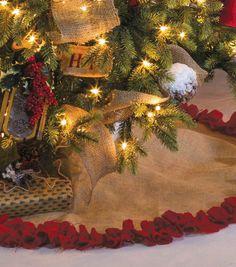 Burlap Christmas Tree Skirt With Red Pom Fringe 56 Inch