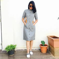 kurta designs Grey Fox Applique Midi Dress Three Kinds Of Baby Clothes When buying baby clothes pare Western Dresses For Women, Frock For Women, Frock Fashion, Fashion Outfits, Dress Outfits, Fall Fashion, Frock Design, Cotton Frocks, Cotton Dresses