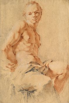 Giovanni Battista Tiepolo, Study of a Sitting Male Nude, Marty de Cambiaire Guy Drawing, Life Drawing, Drawing Sketches, Painting & Drawing, Figure Sketching, Figure Drawing, Chalk Drawings, Art Drawings, Anatomy For Artists
