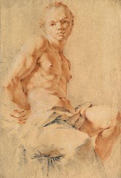 Giovanni Battista Tiepolo (1696–1770), Study of a Sitting Male Nude | Académie d'homme assis, Pierre noire, sanguine, rehauts de craie blanche