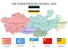 The Federation of Central Asia or Turan Imaginary Maps, Asia Map, Indian Language, Fantasy Map, Alternate History, Ottoman Empire, Historical Maps, Central Asia, Large Wall Art