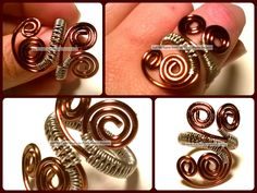 Copper and Silver Wire Wrapped Ring.  www.cyndimooredesigns/storeenvy.com