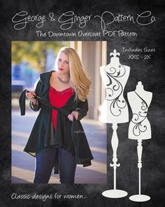 The Downtown Overcoat (Women's Sizes) PDF Sewing Pattern by GeorgeandGingerCo on Etsy https://www.etsy.com/listing/257990321/the-downtown-overcoat-womens-sizes-pdf