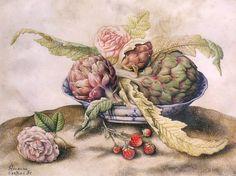 Giovanna Garzoni, Carciofi in un piatto cinese con rosa e fragole