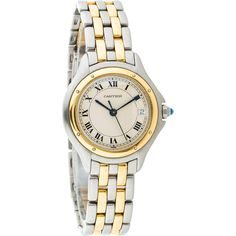 Cartier Pre-owned Cartier Cougar Watch ($2,225) ❤ liked on Polyvore featuring jewelry, watches, gold, roman numeral bracelet, faux watches, 18k bracelet, roman numeral watches and cartier watches