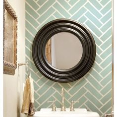 I really love this stencil pattern.. master bath!! Cutting Edge Stencils - Herringbone Brick Allover Stencil