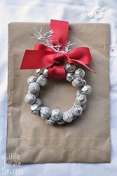 glass glitter jingle bell wreath tutorial | Little Birdie Secrets