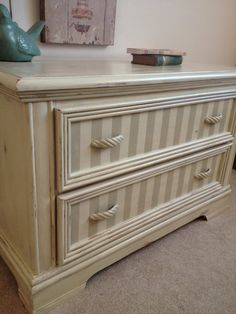 Simple way to dress up an old chest or dresser, gray stripes with off-white or…