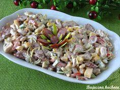 Bajeczna Kuchnia: Pikantna sałatka z kabanosem Chicken Thigh Recipes, Polish Recipes, Pasta Salad, Asparagus, Potato Salad, Dessert Recipes, Food And Drink, Appetizers, Cooking Recipes