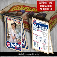 Chicago Cubs Themed Baseball Birthday Trading Cards